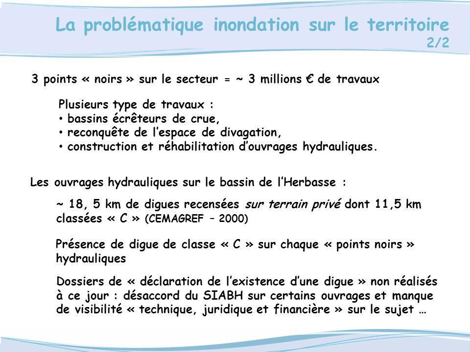 La problématique inondation sur le territoire 2/2 3 points « noirs » sur le secteur = ~ 3 millions de travaux Les ouvrages hydrauliques sur le bassin