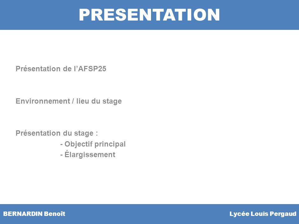 BERNARDIN Benoît Lycée Louis Pergaud Présentation de lAFSP25 Environnement / lieu du stage Présentation du stage : - Objectif principal - Élargissemen