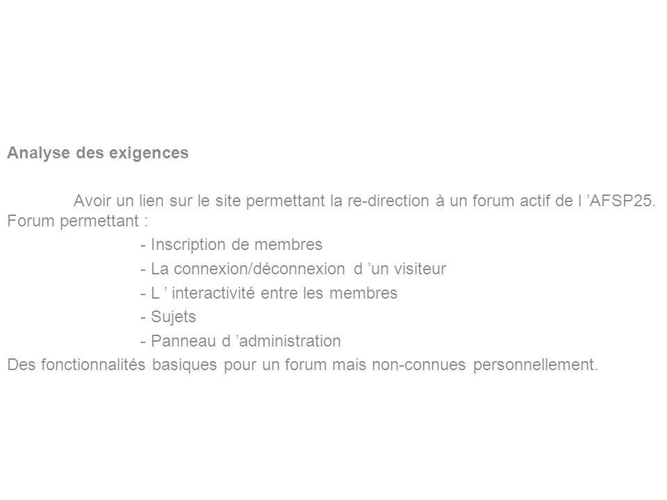 BERNARDIN Benoît Lycée Louis Pergaud Analyse des exigences Avoir un lien sur le site permettant la re-direction à un forum actif de l AFSP25. Forum pe
