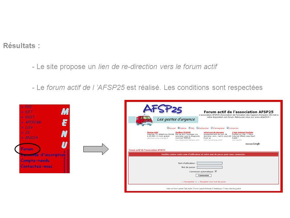 BERNARDIN Benoît Lycée Louis Pergaud Résultats : - Le site propose un lien de re-direction vers le forum actif - Le forum actif de l AFSP25 est réalis
