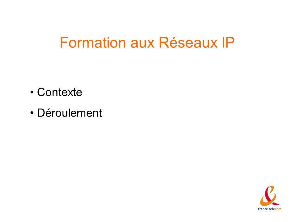 Formation aux Réseaux IP Contexte Déroulement