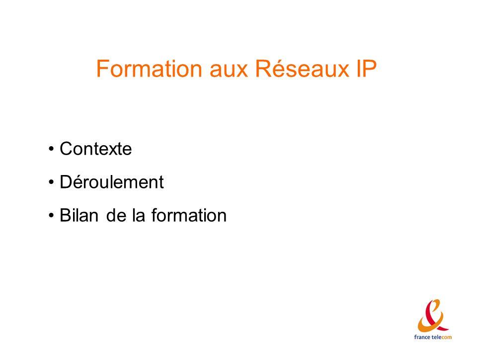 Formation aux Réseaux IP Contexte Déroulement Bilan de la formation