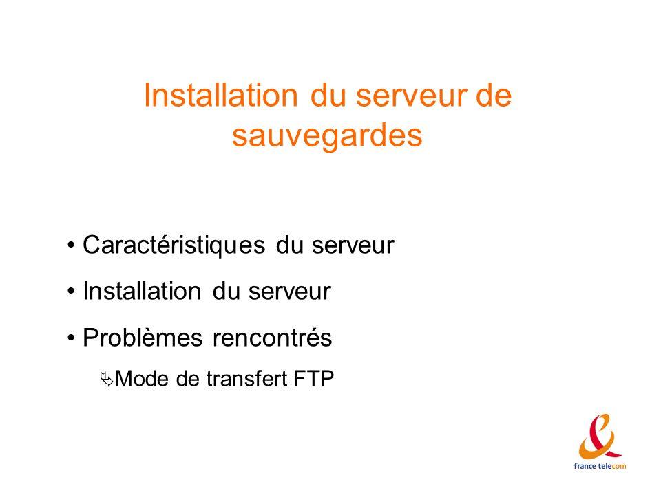 Installation du serveur de sauvegardes Caractéristiques du serveur Installation du serveur Problèmes rencontrés Mode de transfert FTP