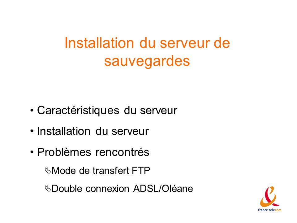 Installation du serveur de sauvegardes Caractéristiques du serveur Installation du serveur Problèmes rencontrés Mode de transfert FTP Double connexion