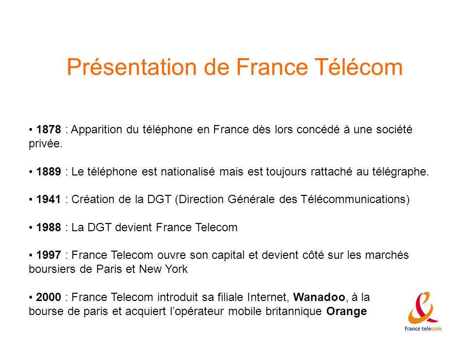Présentation de France Télécom 1878 : Apparition du téléphone en France dès lors concédé à une société privée. 1889 : Le téléphone est nationalisé mai