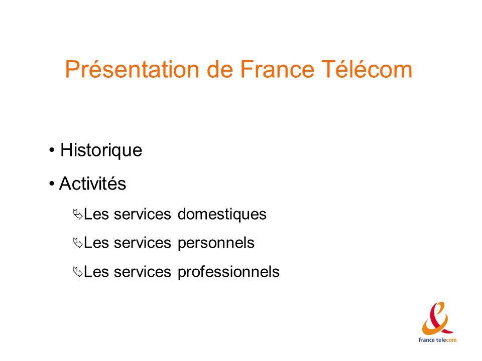 Présentation de France Télécom Historique Activités Les services domestiques Les services personnels Les services professionnels