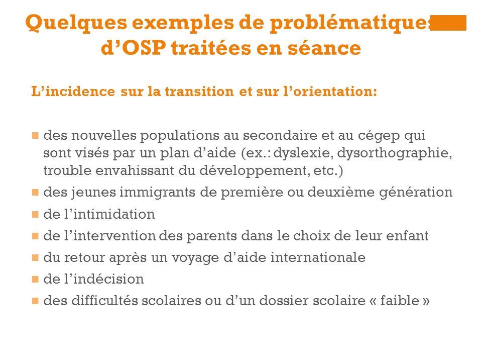 Quelques exemples de problématiques dOSP traitées en séance Lincidence sur la transition et sur lorientation: des nouvelles populations au secondaire