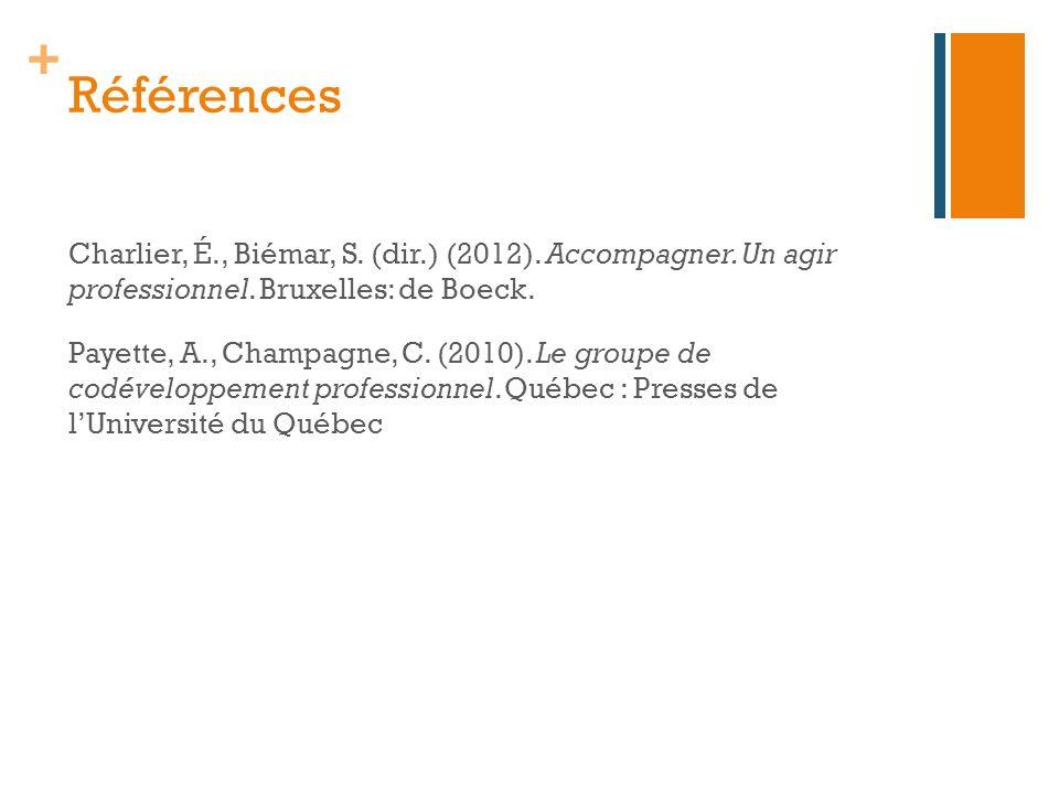 + Références Charlier, É., Biémar, S. (dir.) (2012). Accompagner. Un agir professionnel. Bruxelles: de Boeck. Payette, A., Champagne, C. (2010). Le gr