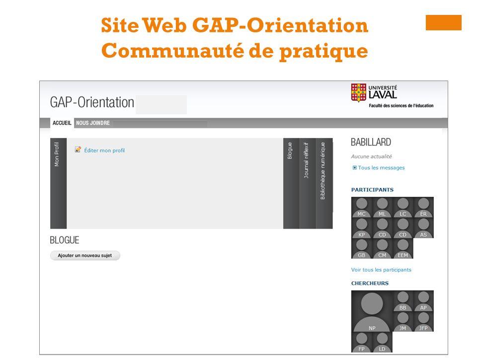 Site Web GAP-Orientation Communauté de pratique