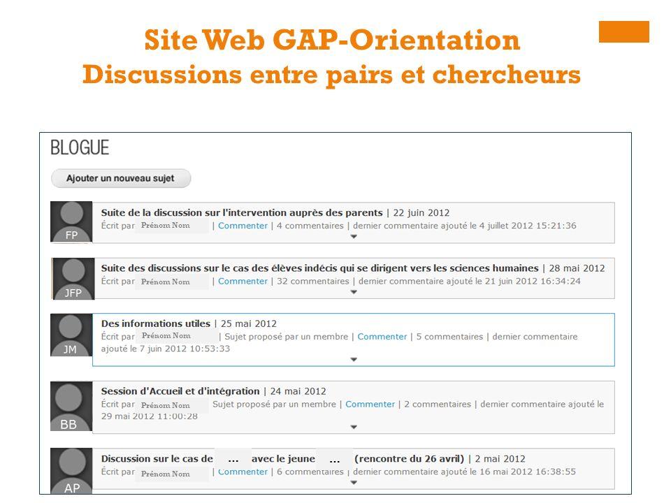Site Web GAP-Orientation Discussions entre pairs et chercheurs Prénom Nom … …