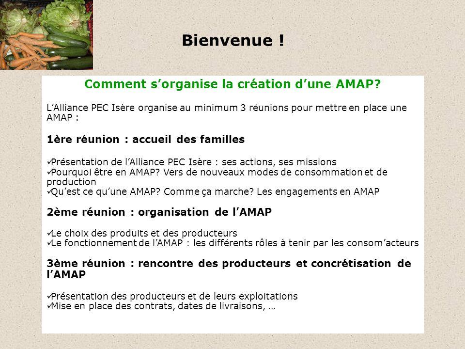 Bienvenue . Comment sorganise la création dune AMAP.