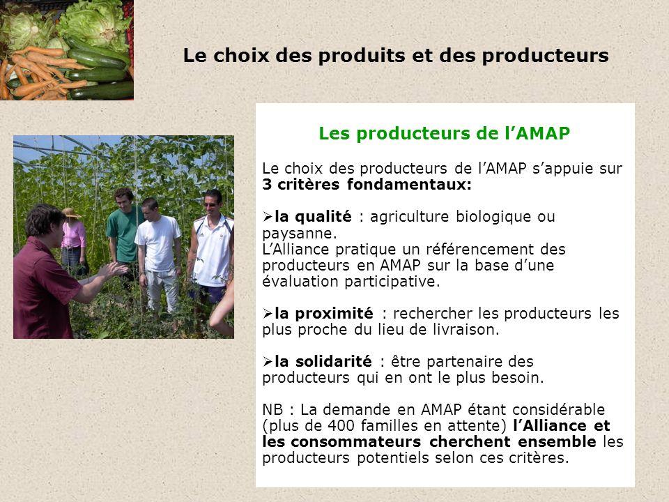 Le choix des produits et des producteurs Les producteurs de lAMAP Le choix des producteurs de lAMAP sappuie sur 3 critères fondamentaux: la qualité : agriculture biologique ou paysanne.