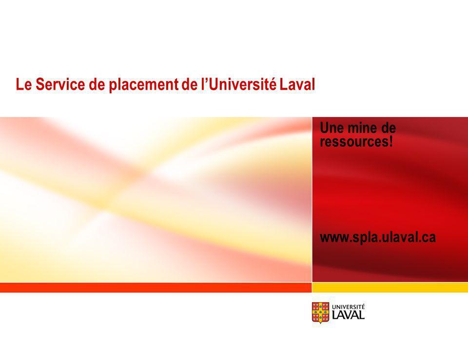 www.ulaval.ca 2 Un mot sur le Service de placement de lUniversité Laval Les compétences clés Le réseau de contacts Marché et types demploi Adresses Internet Sujets abordés