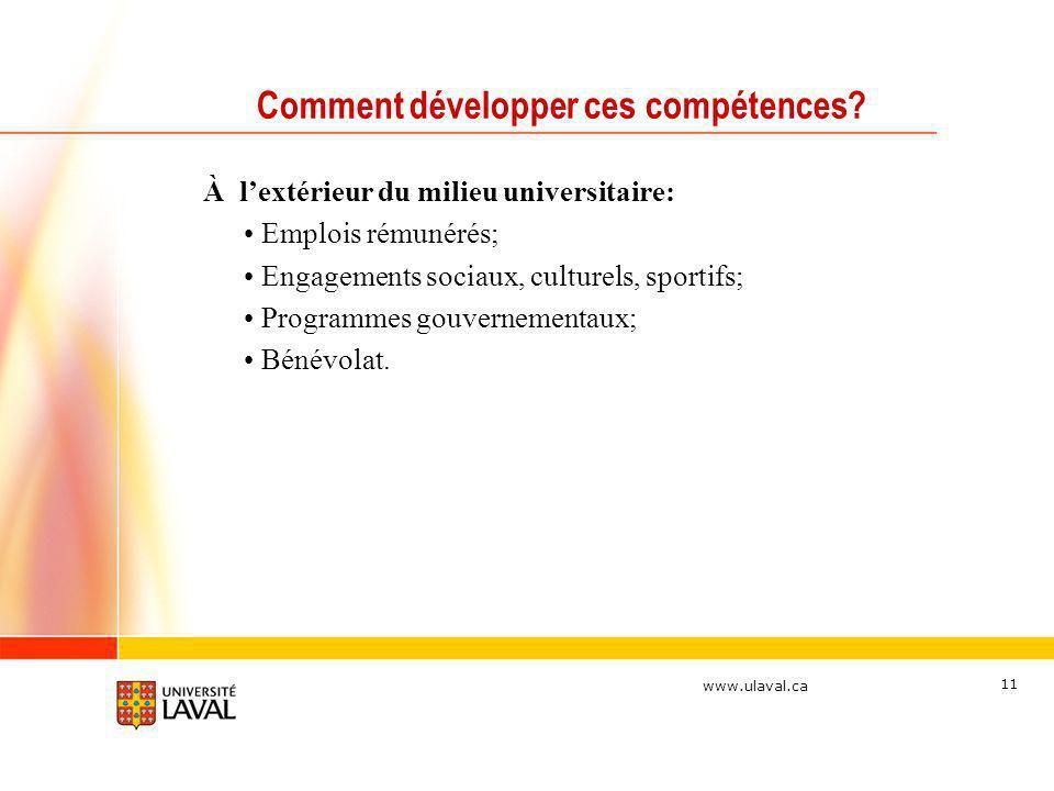www.ulaval.ca 11 Comment développer ces compétences? À lextérieur du milieu universitaire: Emplois rémunérés; Engagements sociaux, culturels, sportifs