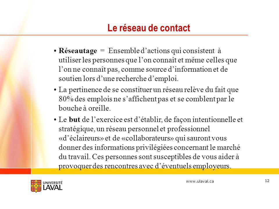 www.ulaval.ca 12 Le réseau de contact Réseautage = Ensemble dactions qui consistent à utiliser les personnes que lon connaît et même celles que lon ne