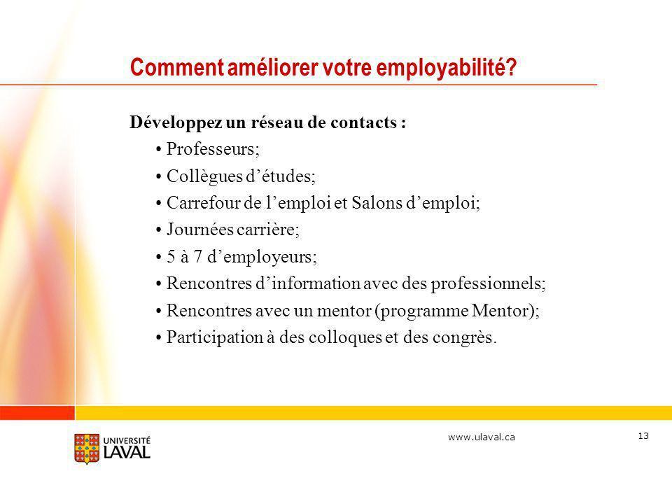 www.ulaval.ca 13 Comment améliorer votre employabilité? Développez un réseau de contacts : Professeurs; Collègues détudes; Carrefour de lemploi et Sal