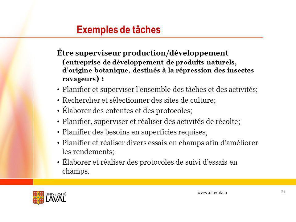 www.ulaval.ca 21 Exemples de tâches Être superviseur production/développement ( entreprise de développement de produits naturels, dorigine botanique,