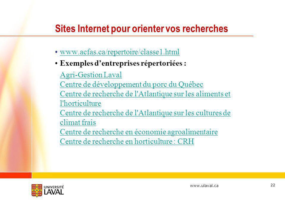 www.ulaval.ca 22 Sites Internet pour orienter vos recherches www.acfas.ca/repertoire/classe1.html Exemples dentreprises répertoriées : Agri-Gestion La