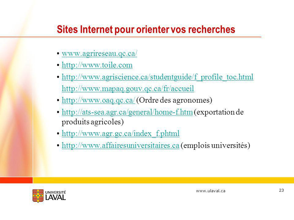 www.ulaval.ca 23 Sites Internet pour orienter vos recherches www.agrireseau.qc.ca/ http://www.toile.com http://www.agriscience.ca/studentguide/f_profile_toc.html http://www.mapaq.gouv.qc.ca/fr/accueil http://www.oaq.qc.ca/ (Ordre des agronomes)http://www.oaq.qc.ca/ http://ats-sea.agr.ca/general/home-f.htm (exportation de produits agricoles)http://ats-sea.agr.ca/general/home-f.htm http://www.agr.gc.ca/index_f.phtml http://www.affairesuniversitaires.ca (emplois universités)http://www.affairesuniversitaires.ca