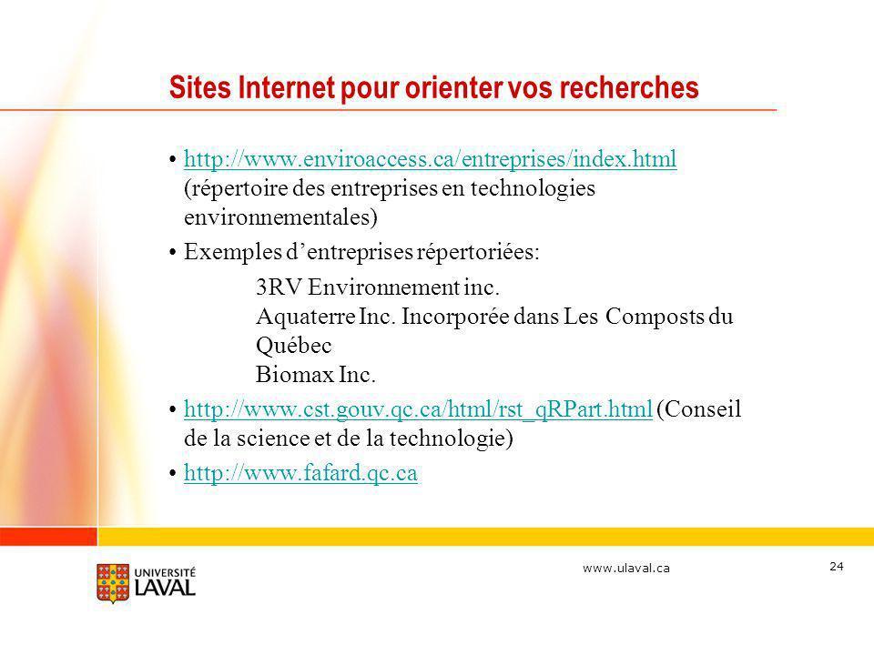 www.ulaval.ca 24 Sites Internet pour orienter vos recherches http://www.enviroaccess.ca/entreprises/index.html (répertoire des entreprises en technolo