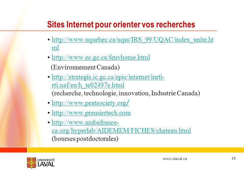 www.ulaval.ca 25 Sites Internet pour orienter vos recherches http://www.uquebec.ca/uqss/IRS_99/UQAC/index_unite.ht mlhttp://www.uquebec.ca/uqss/IRS_99/UQAC/index_unite.ht ml http://www.ec.gc.ca/fenvhome.html (Environnement Canada) http://strategis.ic.gc.ca/epic/internet/inrti- rti.nsf/en/h_te02497e.html (recherche, technologie, innovation, Industrie Canada)http://strategis.ic.gc.ca/epic/internet/inrti- rti.nsf/en/h_te02497e.html http://www.peatsociety.org /http://www.peatsociety.org / http://www.premiertech.com http://www.ambafrance- ca.org/hyperlab/AIDEMEM/FICHES/chateau.html (bourses postdoctorales)http://www.ambafrance- ca.org/hyperlab/AIDEMEM/FICHES/chateau.html