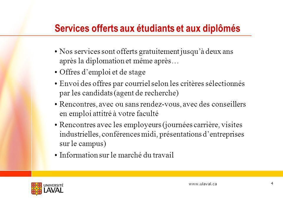 www.ulaval.ca 4 Services offerts aux étudiants et aux diplômés Nos services sont offerts gratuitement jusquà deux ans après la diplomation et même apr