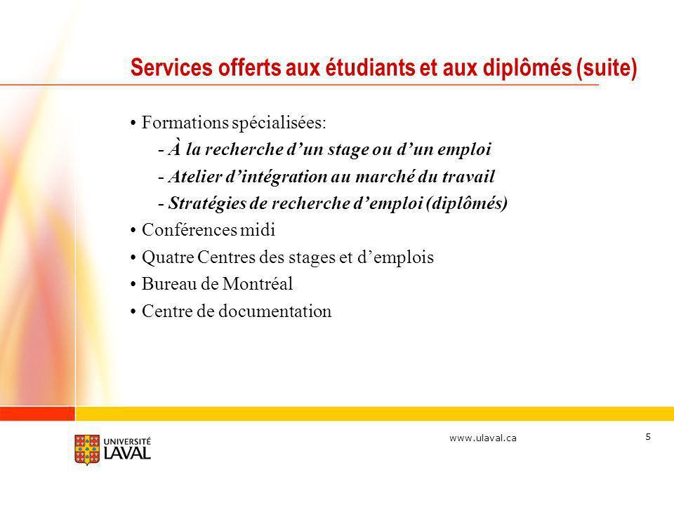 www.ulaval.ca 5 Services offerts aux étudiants et aux diplômés (suite) Formations spécialisées: - À la recherche dun stage ou dun emploi - Atelier din