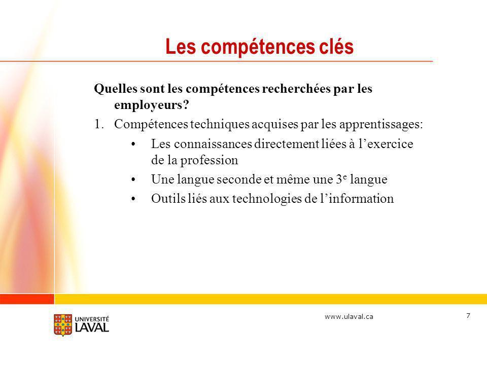 www.ulaval.ca 7 Les compétences clés Quelles sont les compétences recherchées par les employeurs? 1.Compétences techniques acquises par les apprentiss