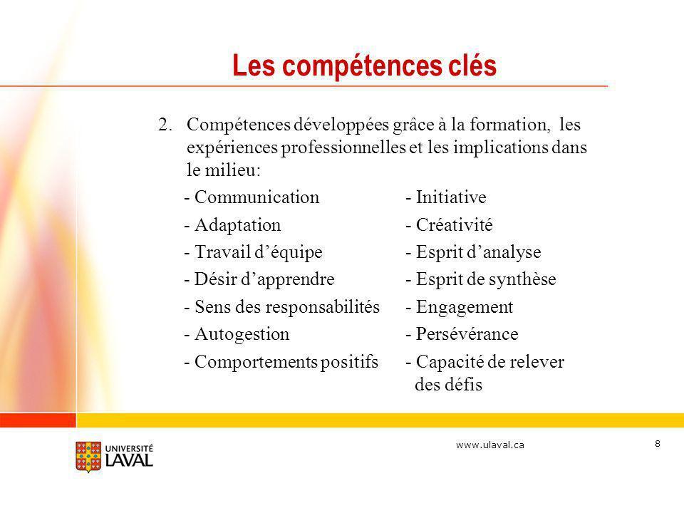 www.ulaval.ca 8 Les compétences clés 2.Compétences développées grâce à la formation, les expériences professionnelles et les implications dans le mili