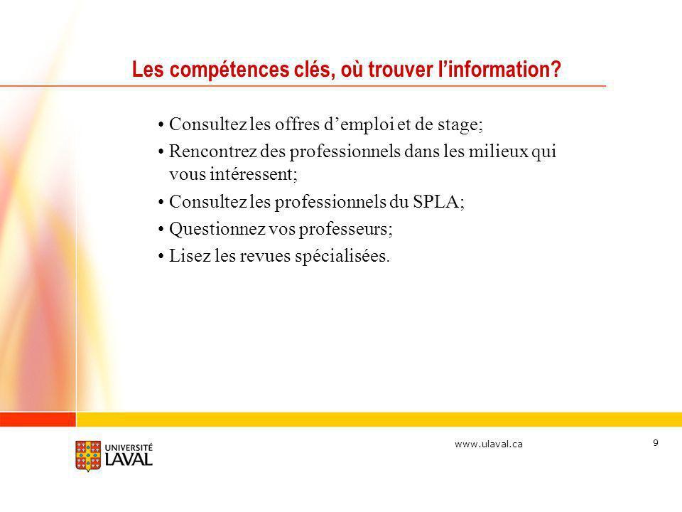 www.ulaval.ca 9 Les compétences clés, où trouver linformation? Consultez les offres demploi et de stage; Rencontrez des professionnels dans les milieu