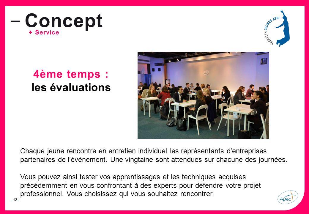 –12– – Concept + Service 4ème temps : les évaluations Chaque jeune rencontre en entretien individuel les représentants dentreprises partenaires de lévénement.
