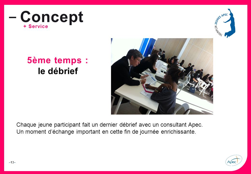 –13– – Concept + Service 5ème temps : le débrief Chaque jeune participant fait un dernier débrief avec un consultant Apec.