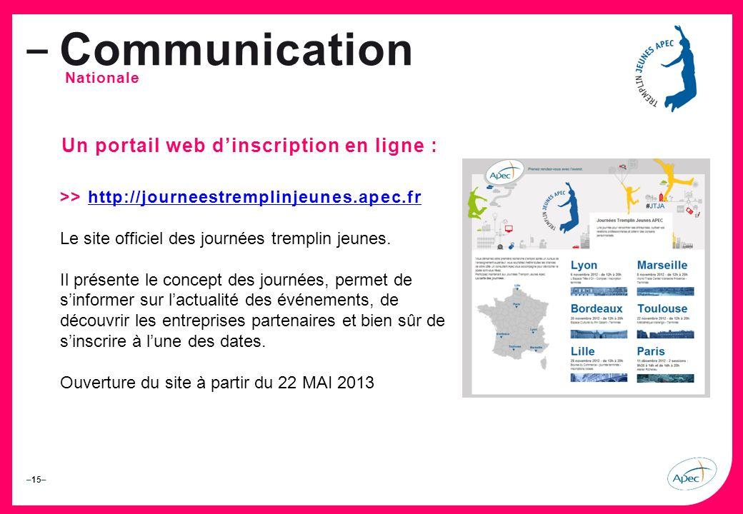 –15– – Communication Nationale Un portail web dinscription en ligne : >> http://journeestremplinjeunes.apec.frhttp://journeestremplinjeunes.apec.fr Le site officiel des journées tremplin jeunes.
