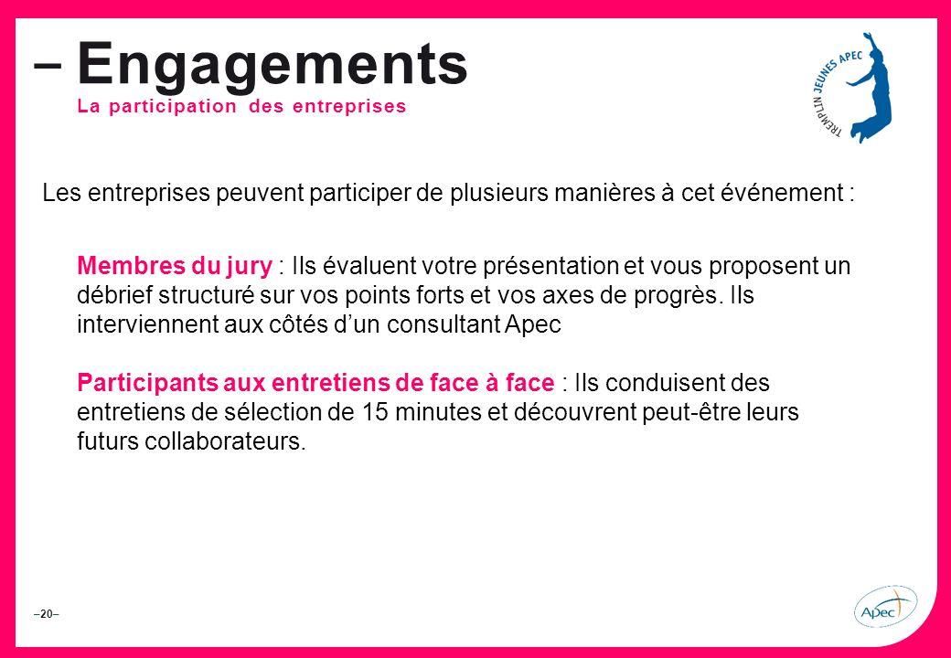 –20– – Engagements La participation des entreprises Les entreprises peuvent participer de plusieurs manières à cet événement : Membres du jury : Ils évaluent votre présentation et vous proposent un débrief structuré sur vos points forts et vos axes de progrès.