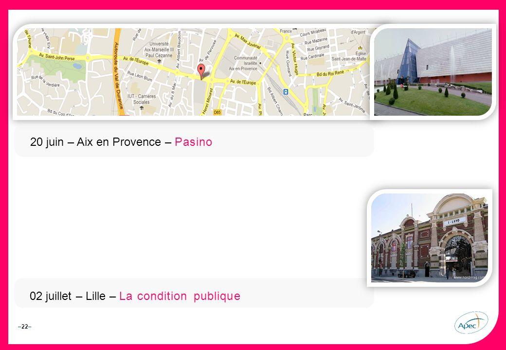 –22– – 20 juin – Aix en Provence – Pasino 02 juillet – Lille – La condition publique