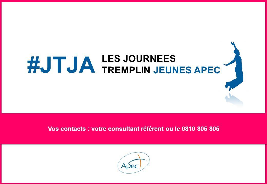–23– # JTJE : LES JOURNEES TREMPLIN JEUNES APEC Vos contacts : votre consultant référent ou le 0810 805 805 #JTJA