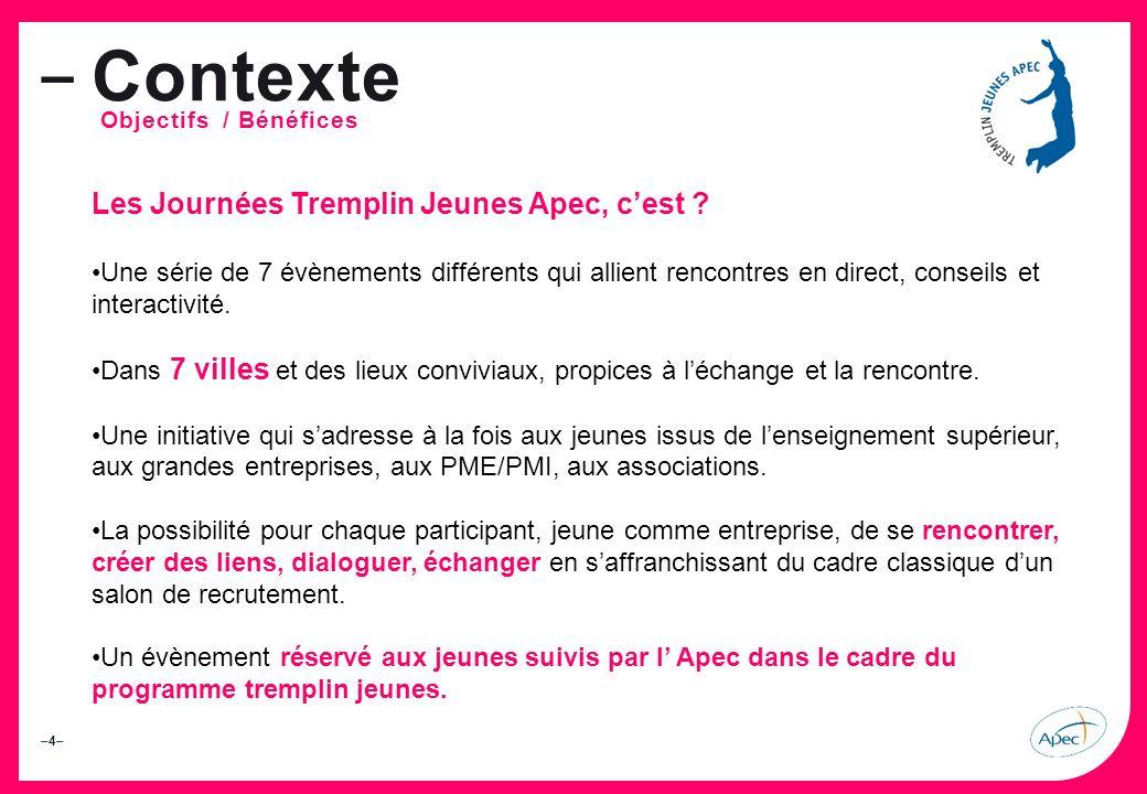 –4––4– – Contexte Objectifs / Bénéfices Les Journées Tremplin Jeunes Apec, cest .