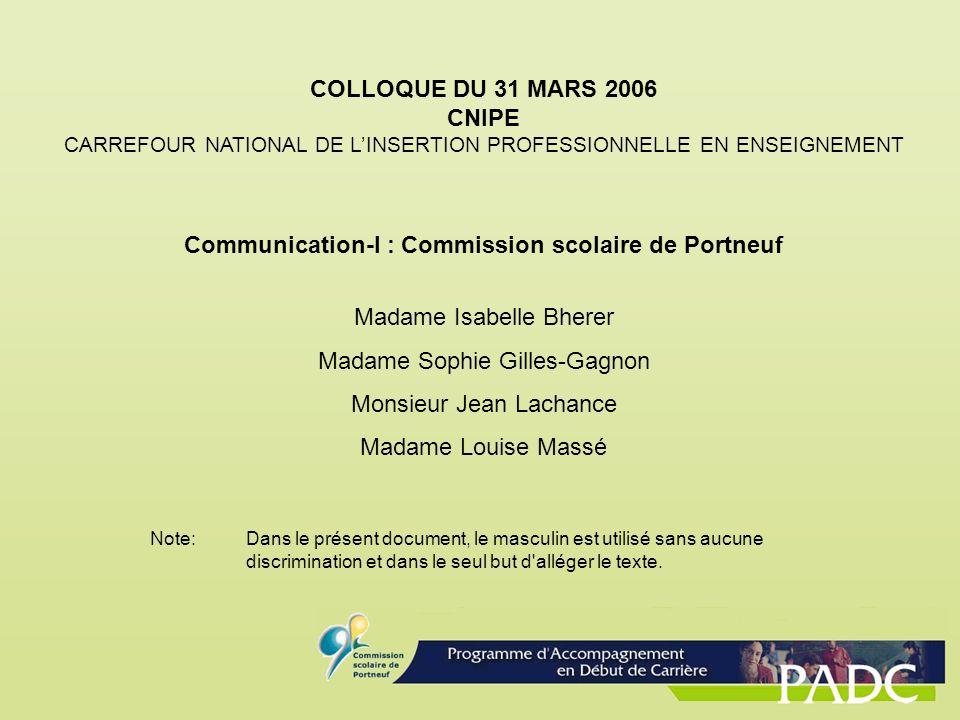 COLLOQUE DU 31 MARS 2006 CNIPE CARREFOUR NATIONAL DE LINSERTION PROFESSIONNELLE EN ENSEIGNEMENT Communication-I : Commission scolaire de Portneuf Mada