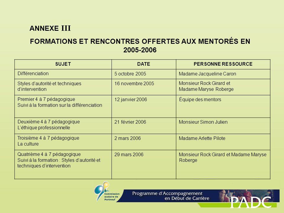 ANNEXE III FORMATIONS ET RENCONTRES OFFERTES AUX MENTORÉS EN 2005-2006 SUJETDATEPERSONNE RESSOURCE Différenciation5 octobre 2005Madame Jacqueline Caro