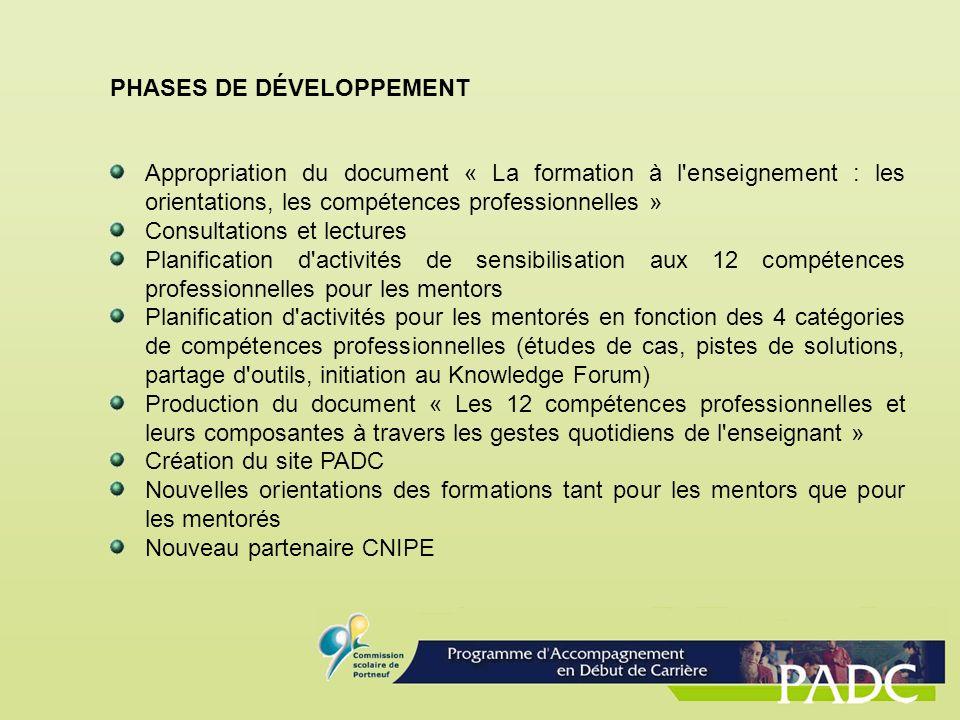 PHASES DE DÉVELOPPEMENT Appropriation du document « La formation à l'enseignement : les orientations, les compétences professionnelles » Consultations
