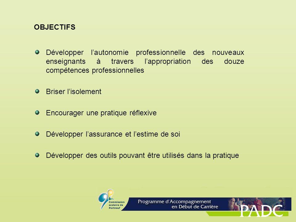OBJECTIFS Développer lautonomie professionnelle des nouveaux enseignants à travers lappropriation des douze compétences professionnelles Briser lisole
