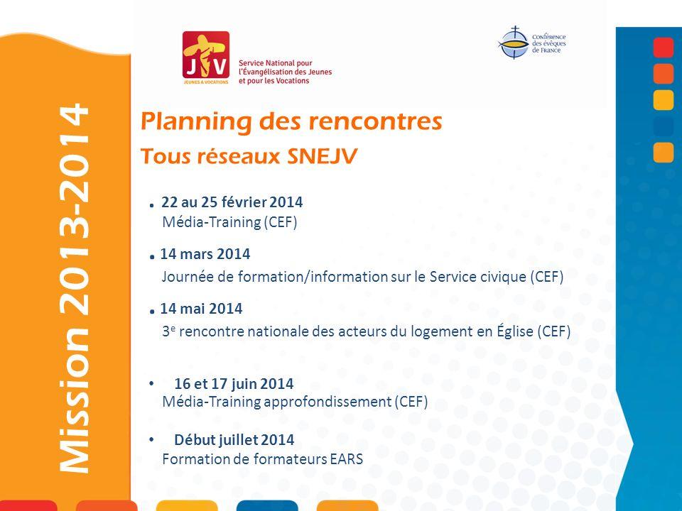 Planning des rencontres Tous réseaux SNEJV. 22 au 25 février 2014 Média-Training (CEF). 14 mars 2014 Journée de formation/information sur le Service c