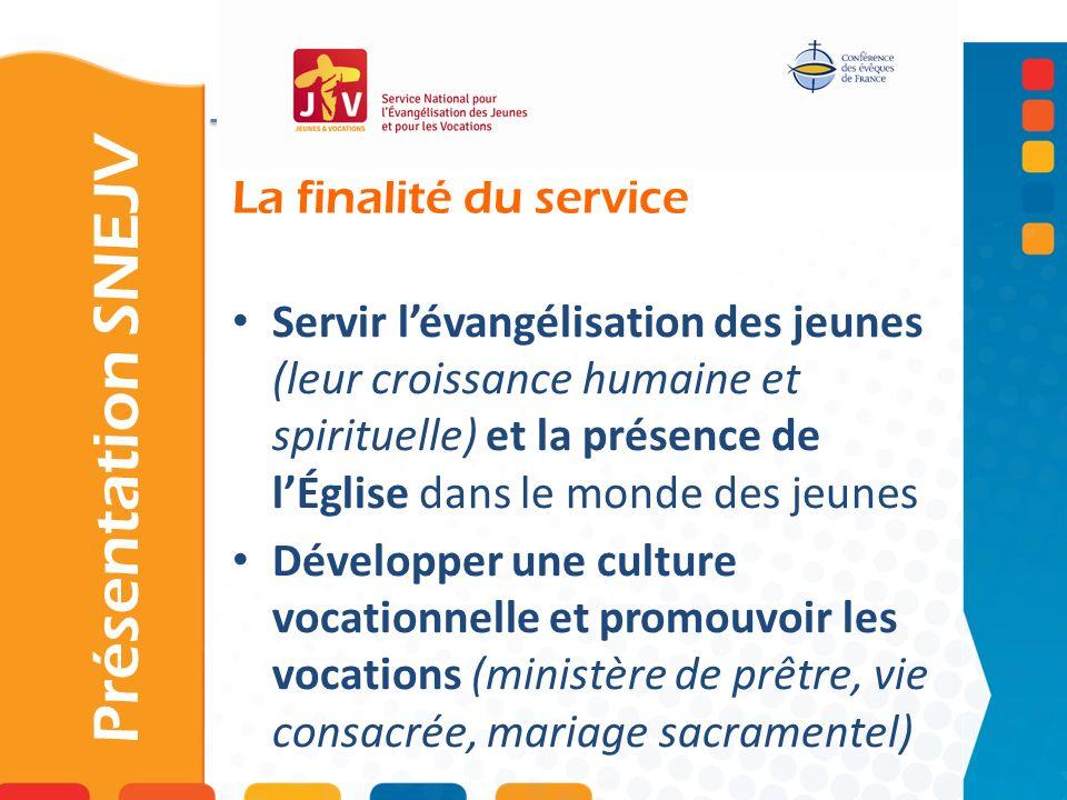 La finalité du service Présentation SNEJV Servir lévangélisation des jeunes (leur croissance humaine et spirituelle) et la présence de lÉglise dans le