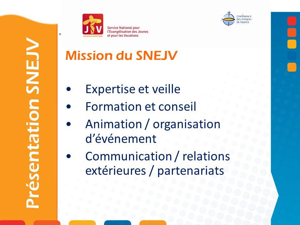 Mission du SNEJV Présentation SNEJV Expertise et veille Formation et conseil Animation / organisation dévénement Communication / relations extérieures