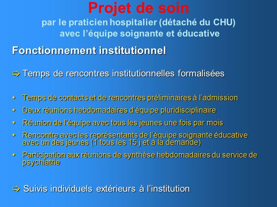 Projet de soin par le praticien hospitalier (détaché du CHU) avec léquipe soignante et éducative Fonctionnement institutionnel Temps de rencontres ins