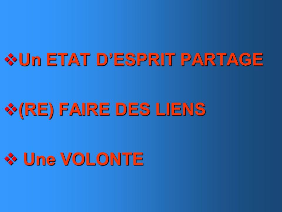 Un ETAT DESPRIT PARTAGE Un ETAT DESPRIT PARTAGE (RE) FAIRE DES LIENS (RE) FAIRE DES LIENS Une VOLONTE Une VOLONTE