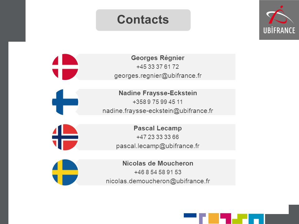Georges Régnier +45 33 37 61 72 georges.regnier@ubifrance.fr Nadine Fraysse-Eckstein +358 9 75 99 45 11 nadine.fraysse-eckstein@ubifrance.fr Pascal Le