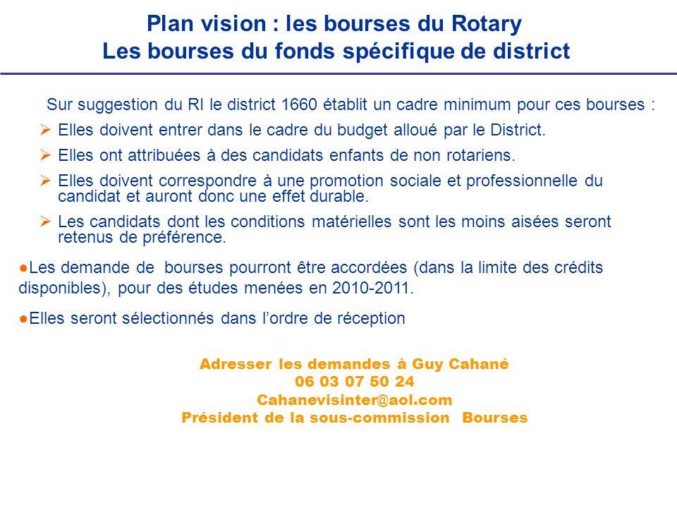 Sur suggestion du RI le district 1660 établit un cadre minimum pour ces bourses : Elles doivent entrer dans le cadre du budget alloué par le District.