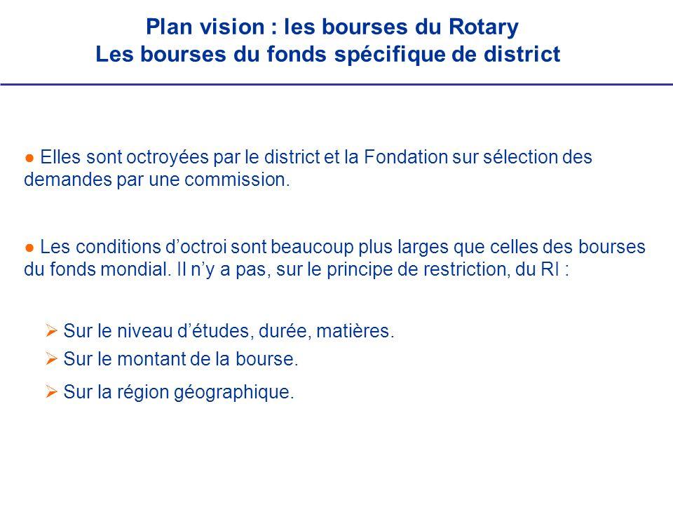 Elles sont octroyées par le district et la Fondation sur sélection des demandes par une commission. Les conditions doctroi sont beaucoup plus larges q