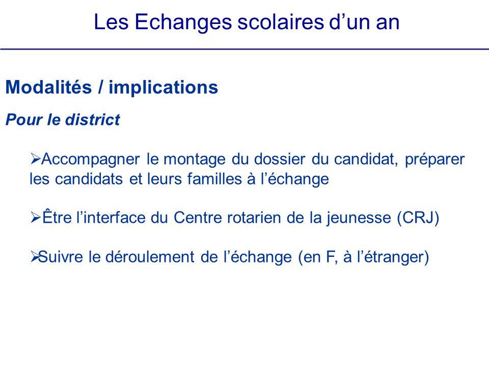Les Echanges scolaires dun an Modalités / implications Pour le district Accompagner le montage du dossier du candidat, préparer les candidats et leurs